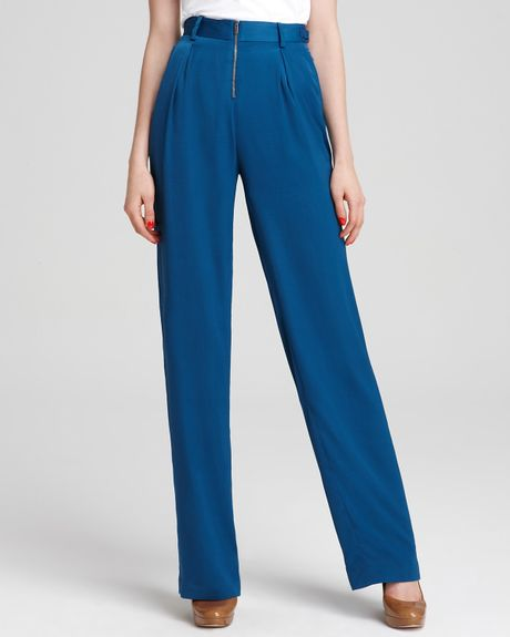 Bcbgmaxazria Pants Robbie High Waist Wide Leg in Blue (larkspur blue) - Lyst