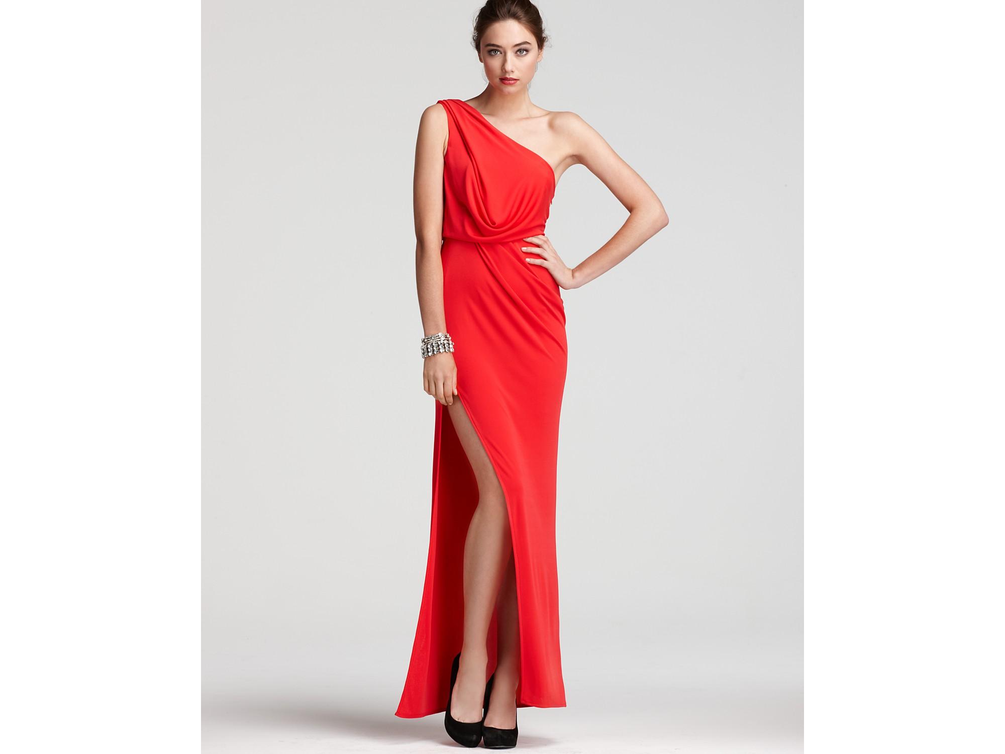 Lyst - Bcbgmaxazria Gown One Shoulder Grecian in Red