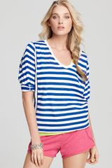C&c California Three Quarter Sleeve Striped Tee  - Lyst