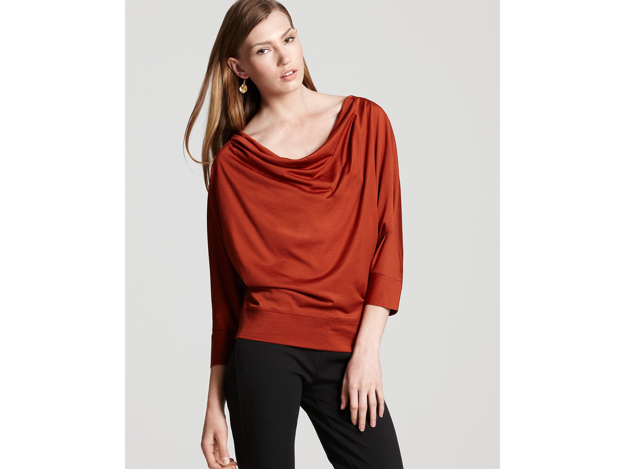 blouse product green normal neck khaki lyst clothing drapes tops in tall topshop drape