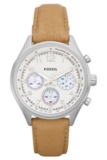 Fossil Womens Chronograph Flight Tan Leather Strap Watch  - Lyst