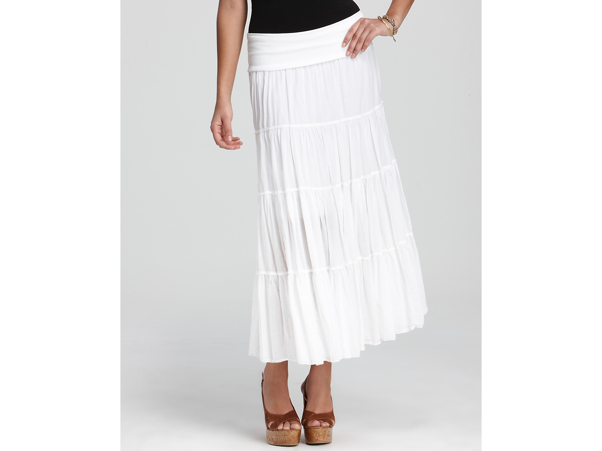 Hard tail Skirt Tiered Maxi in White | Lyst
