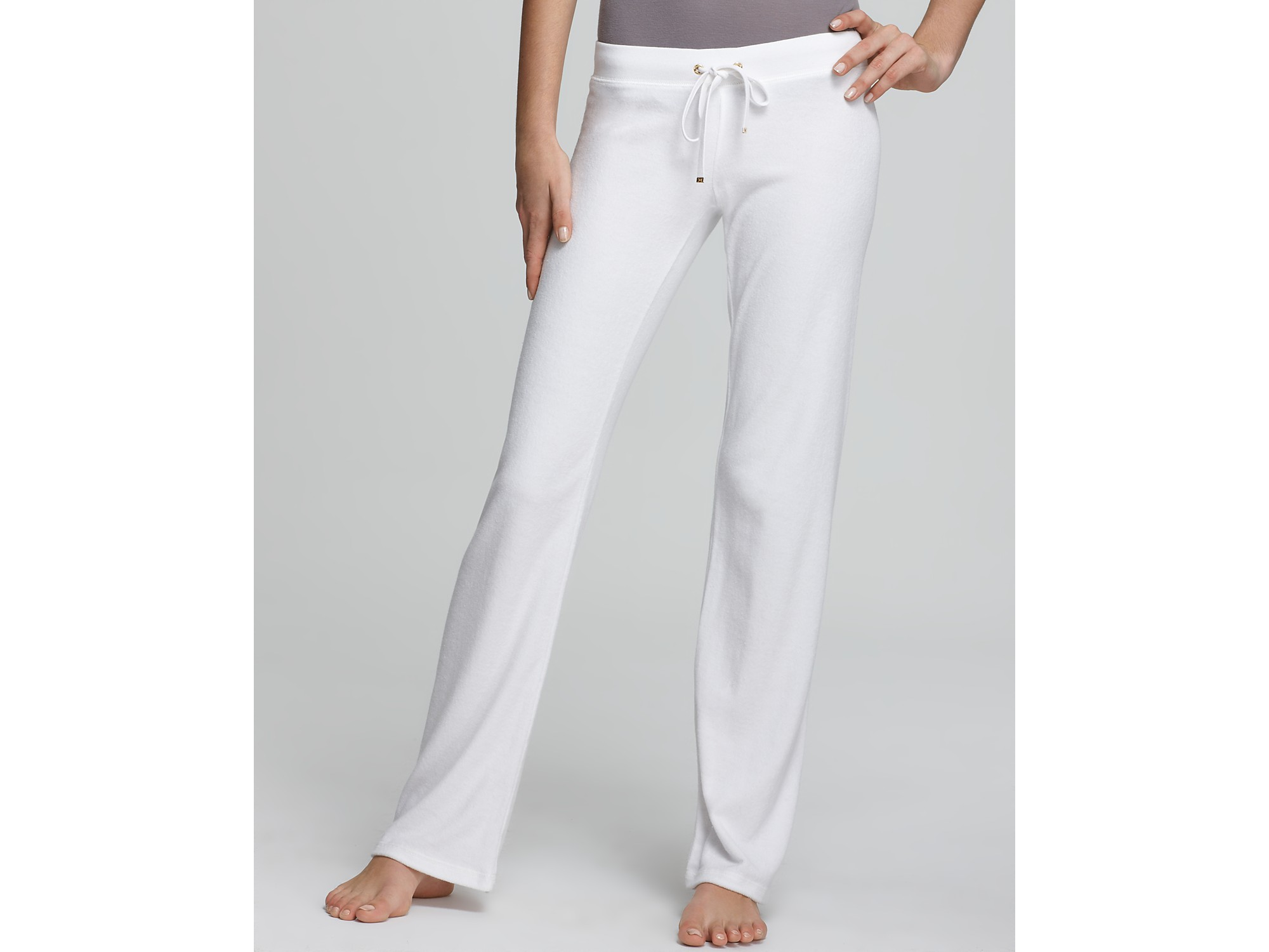 Lyst - Juicy Couture Terry Original Leg Drawstring Pants in White ea984f0a1dd7