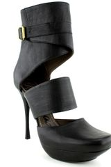 Lanvin Tall Ankle Strap Bootie  in Black - Lyst