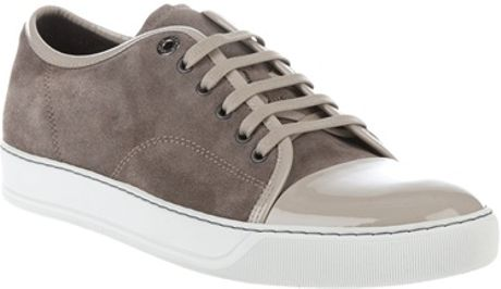 Lanvin Laceup Trainer in Beige for Men (grey) - Lyst