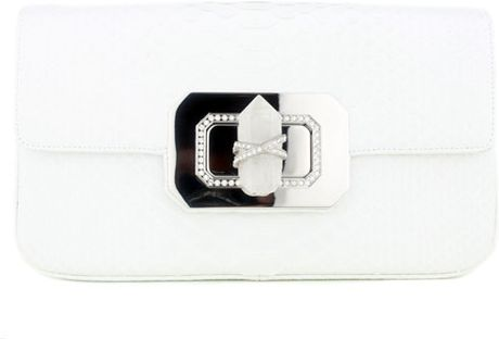 Marchesa White Python Clutch in White - Lyst