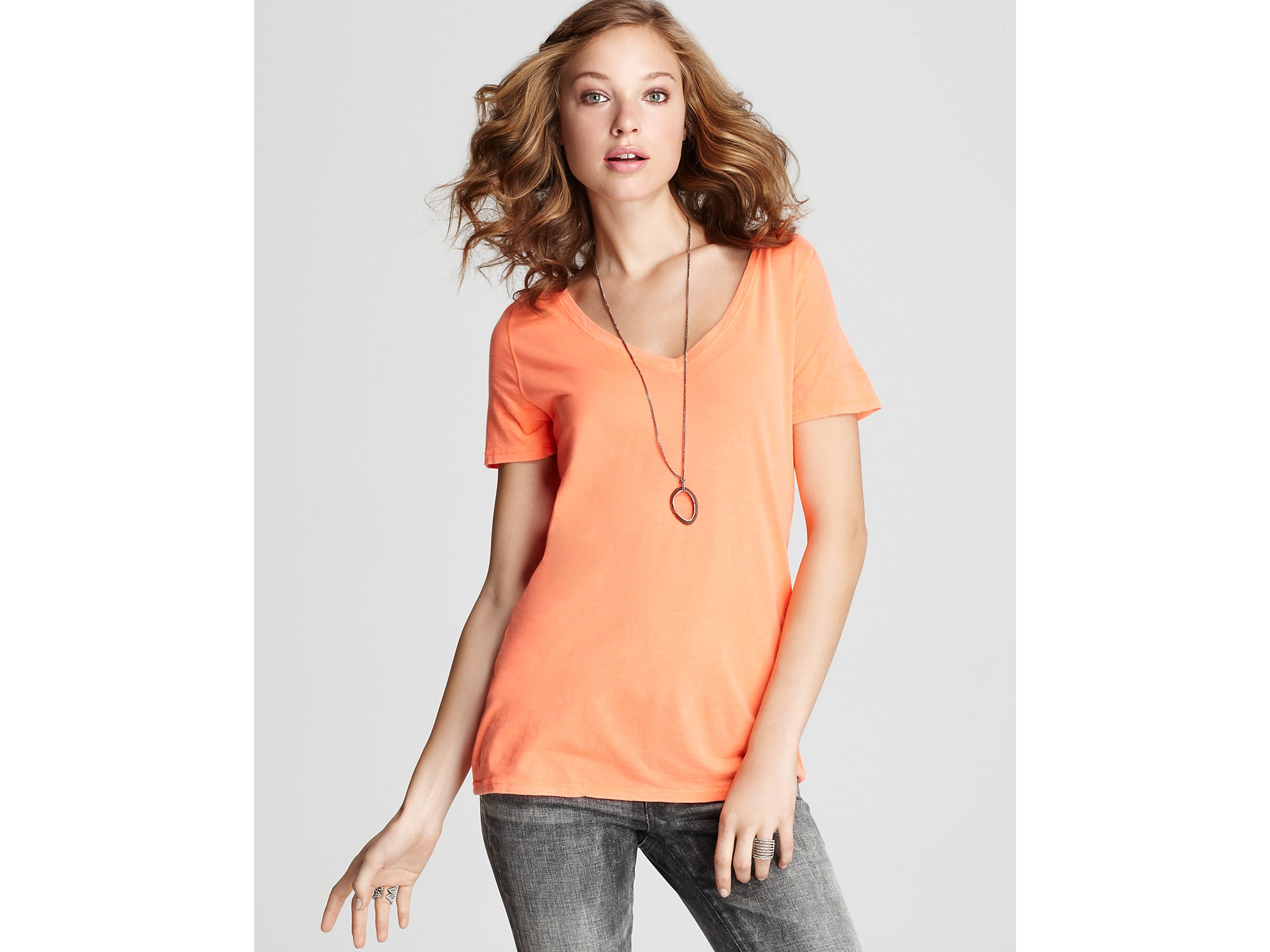 Michael stars tee slim slouch v neck in orange screaming for Michael stars t shirts on sale