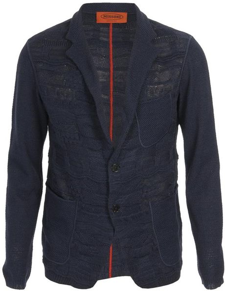 Missoni Clark Jacquard Knit Jacket in Blue for Men (navy) - Lyst