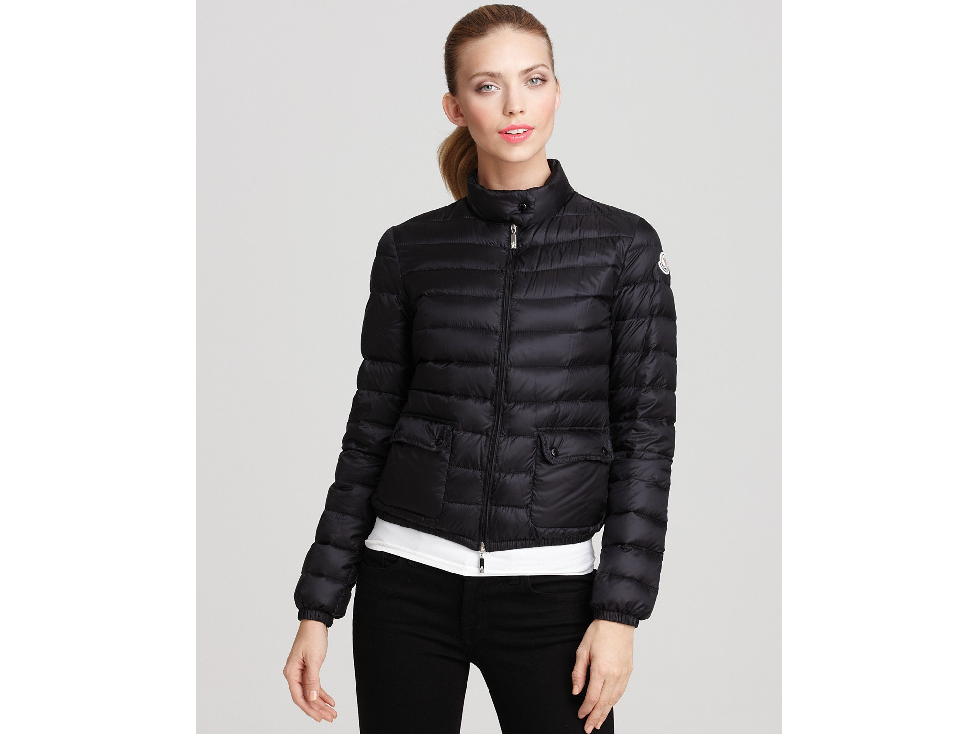 moncler lans short puffer jacket in blue lyst. Black Bedroom Furniture Sets. Home Design Ideas