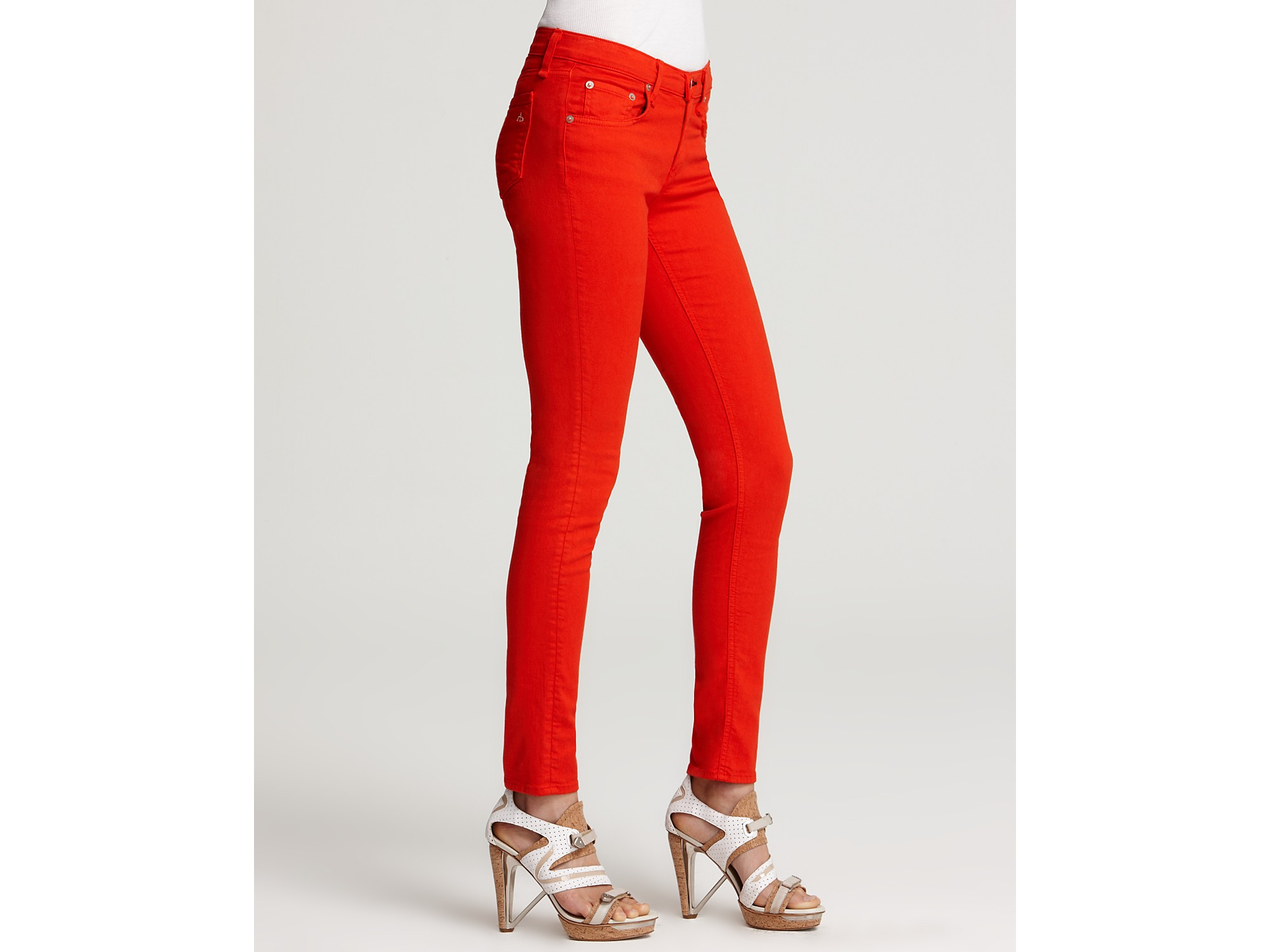 Bright orange skinny jeans – Global fashion jeans collection