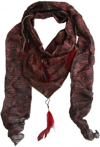 Roberto Cavalli Feather Lurex Silk Georgette Foulard in Red - Lyst