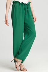 See By Chloé Pants High Waist Drawstring in Green - Lyst