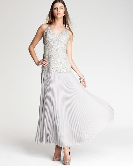 Sue Wong Pleated Gown in Gray (platinum) - Lyst