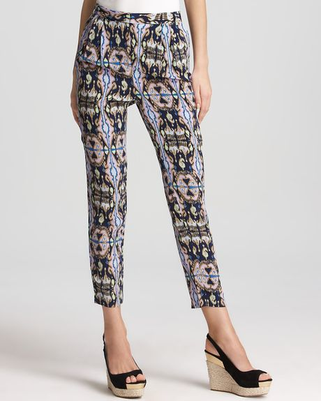 Tibi Pants Printed Slim Leg in Blue (navy multi) - Lyst