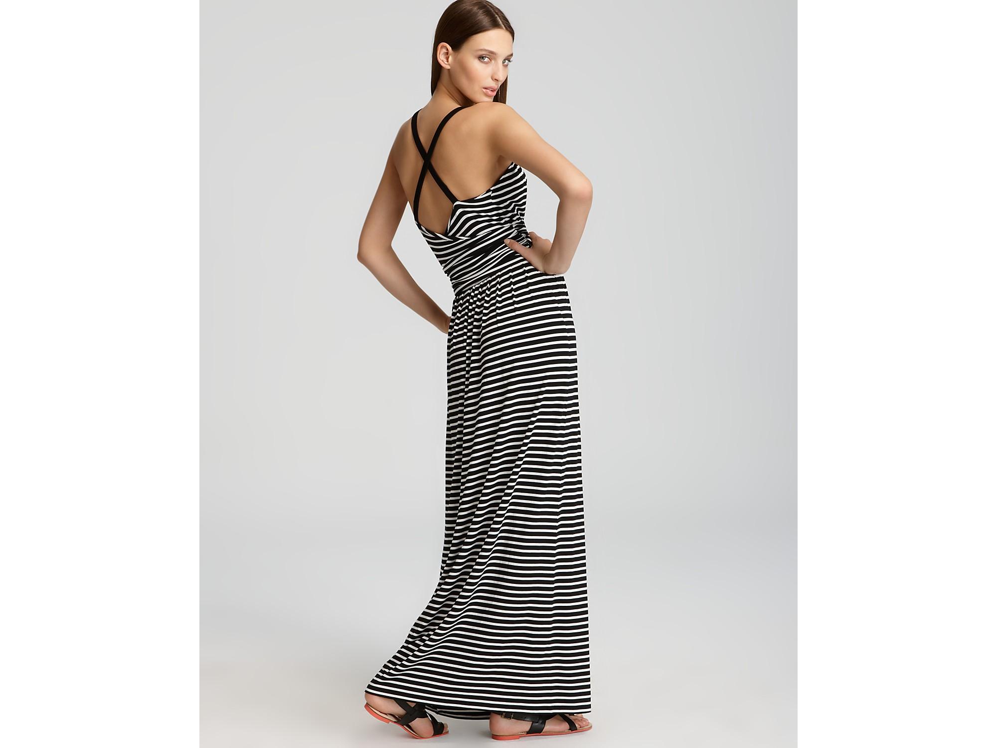 Strapless striped maxi dress