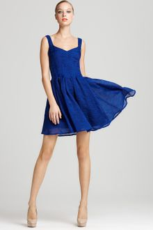 Zac Posen Dress V Neck Pleated Dress - Lyst