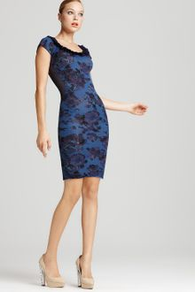 Zac Posen Dress Cap Sleeve Floral Printed - Lyst