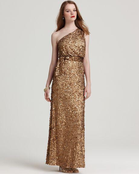 Aidan Mattox Gold Sequin Dress Aidan Mattox Sequin Dress One
