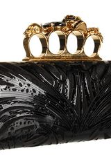 Alexander Mcqueen Knuckle Box Clutch in Gold (b) - Lyst