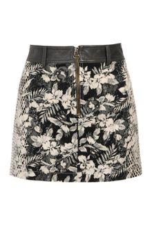 Alexander Wang Botanical Printed Cotton and Leather Miniskirt - Lyst