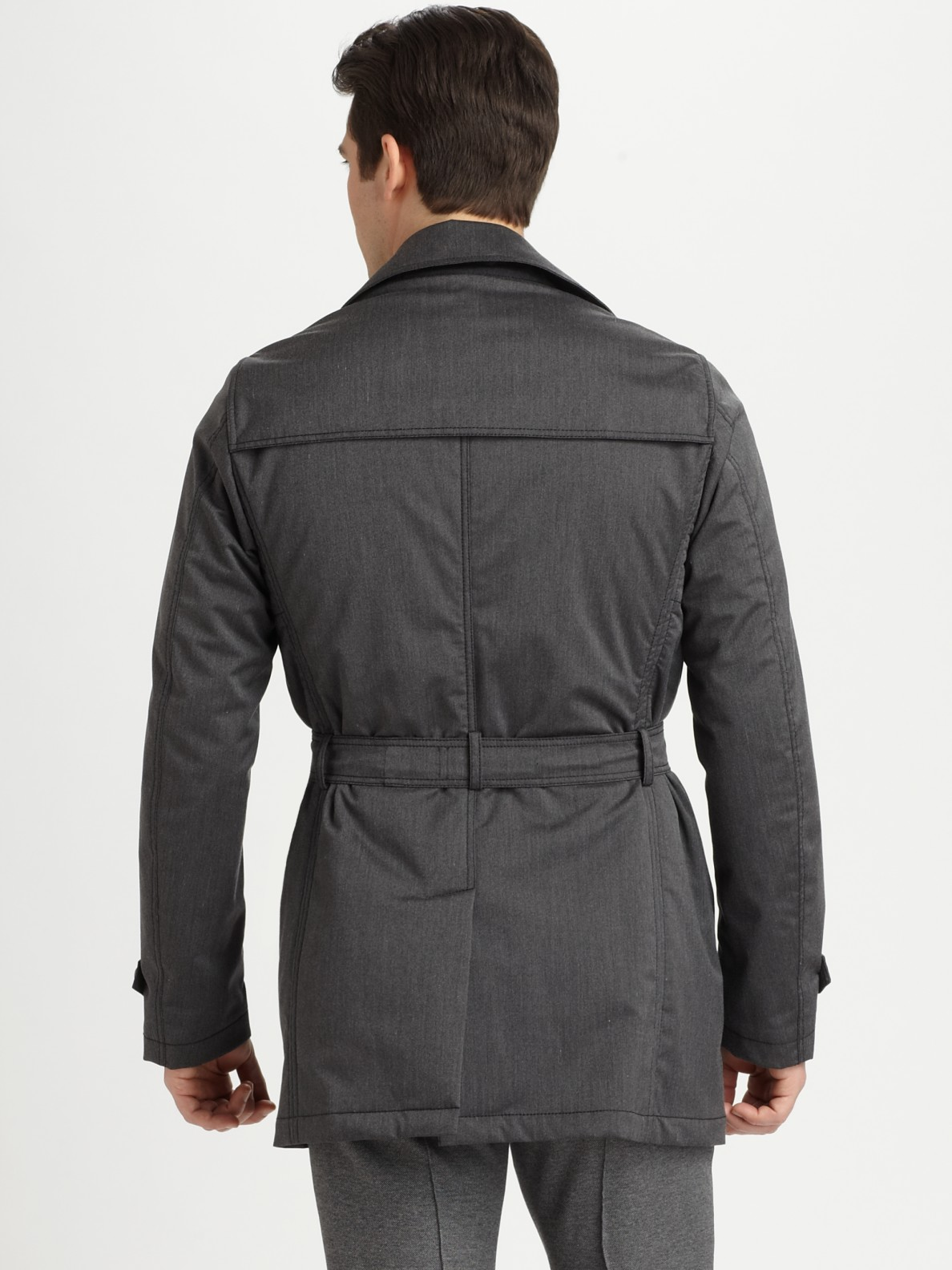 Armani Belted Trench Coat In Gray For Men Lyst