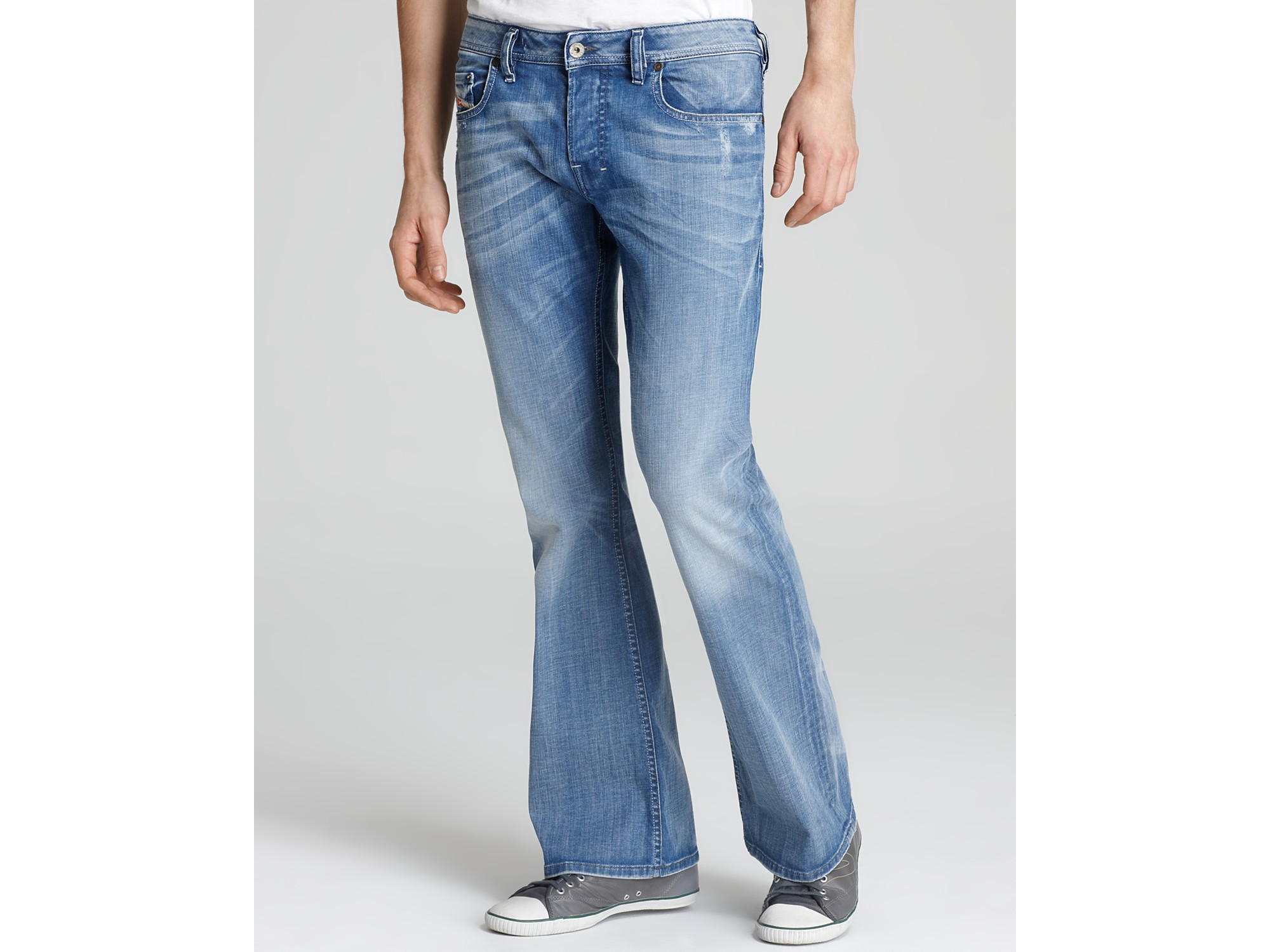 Ash Regular Fit Bootcut Jeans in Light Blue Wash in Blue for Men