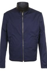 Balenciaga Reversible Cotton Blouson with Leather Collar in Blue for Men (black navy) - Lyst