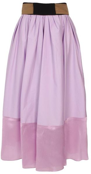 Balenciaga Long Cotton Poplin Silk Shantung and Crepe Skirt - Lyst
