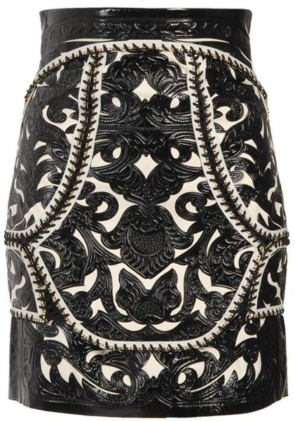 Balmain Baroque Leather Panelled Skirt in Black (black white) - Lyst