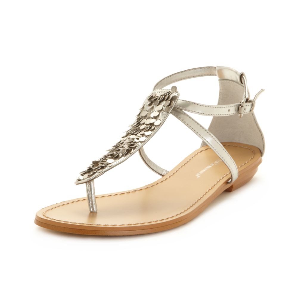 Bcbgeneration Blayke Flat Thong Sandals In Silver Lyst