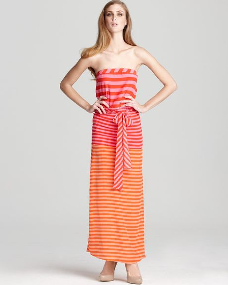 Bcbgmaxazria Dress Dodson Striped Strapless Maxi Dress in Red (red berry cerise combo) - Lyst