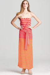 BCBGMAXAZRIA Dress Dodson Striped Strapless Maxi Dress - Lyst