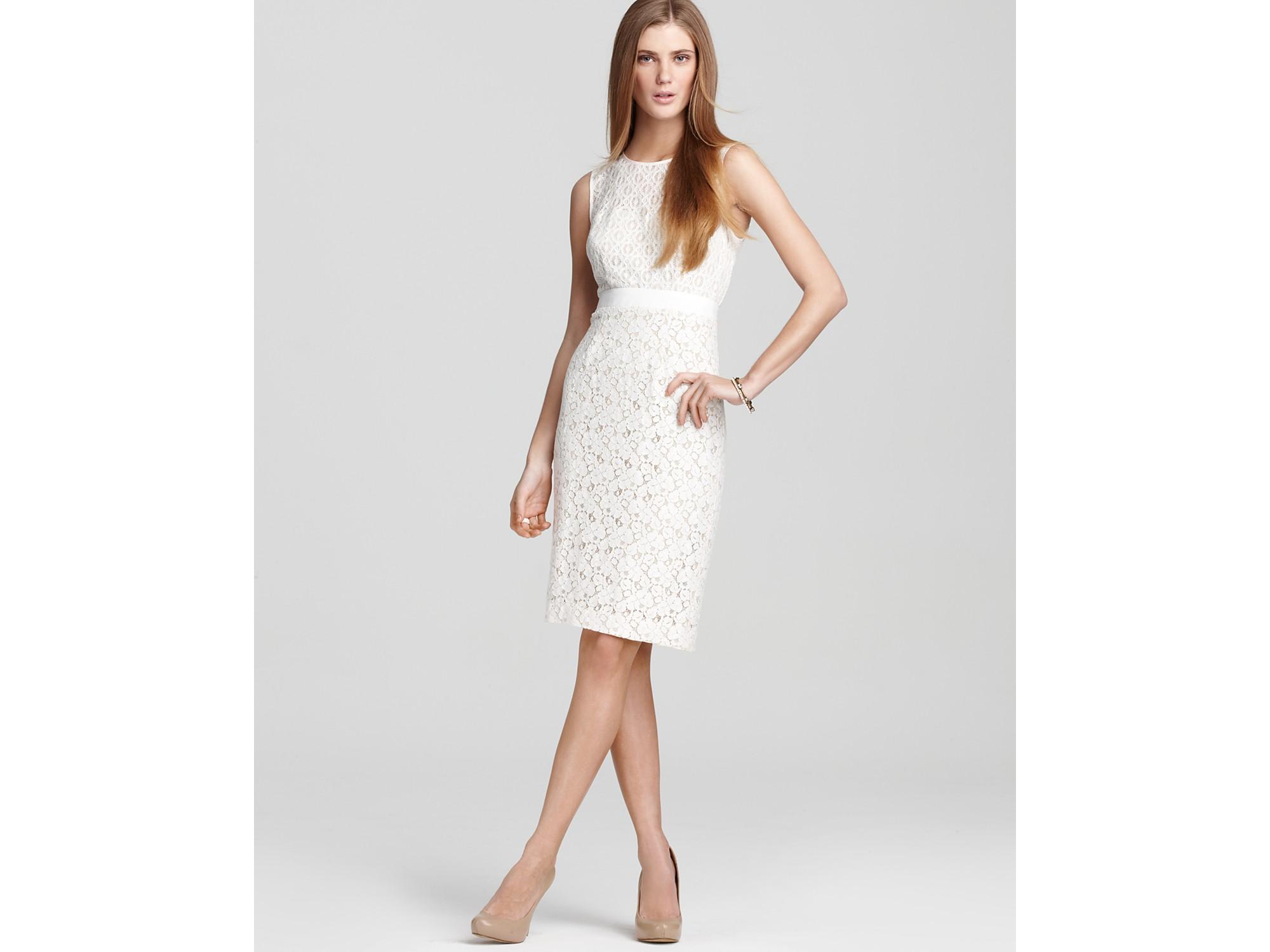 Bcbgmaxazria Dress Alice Mixed Lace Sheath Dress in White | Lyst