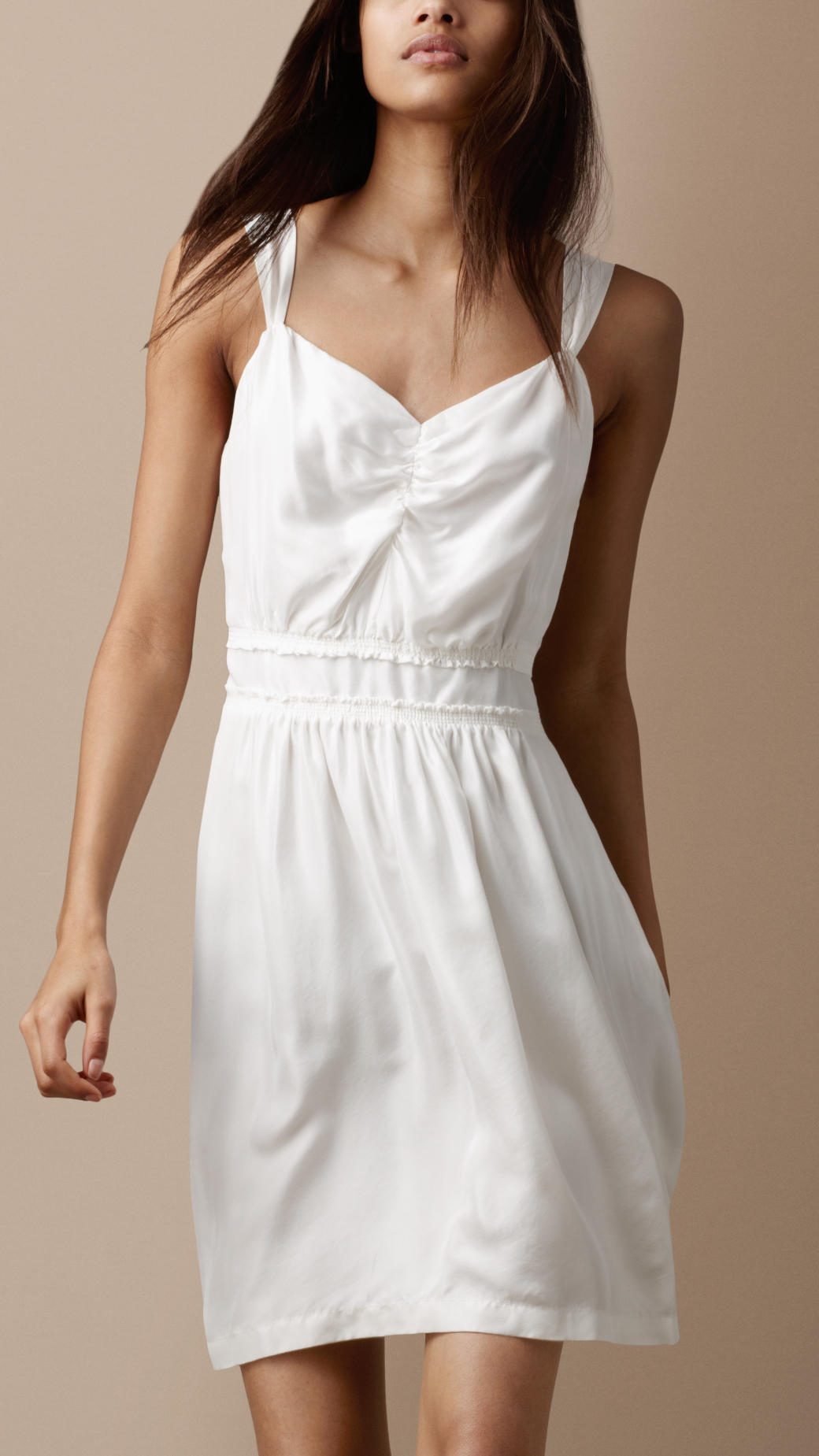 Burberry Brit Silk Sun Dress in White (natural white)