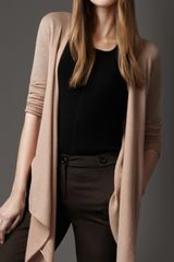 Burberry Fine Knit Flowing Cardigan in Beige (nude) - Lyst