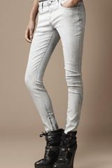 Burberry Bayswater Coated Skinny Jeans in White - Lyst