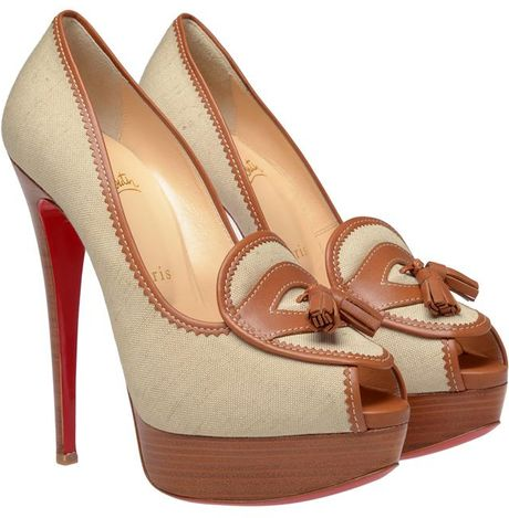 Christian Louboutin Campus Canvas Platform Pumps in Brown (tan) - Lyst