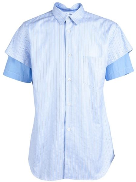 Comme Des Garçons Striped Shirt in Blue for Men - Lyst
