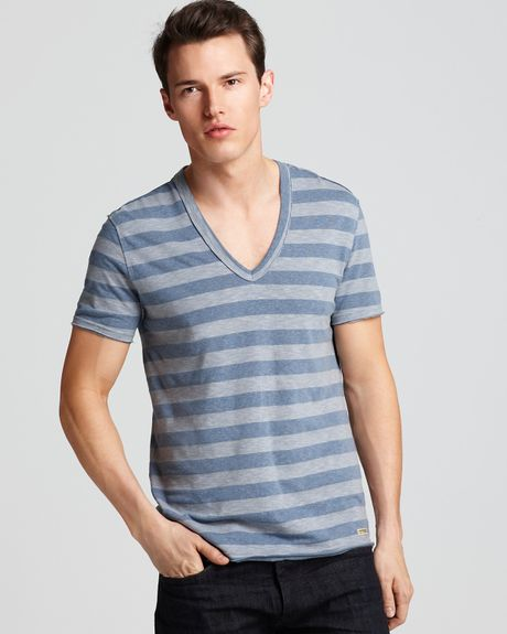 Converse Black Canvas Shortsleeve Striped V Neck Tee in Blue for Men (china blue) - Lyst