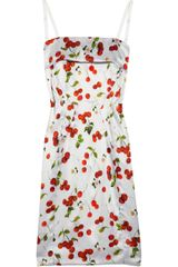 D&G Cherry-Print Satin Dress - Lyst