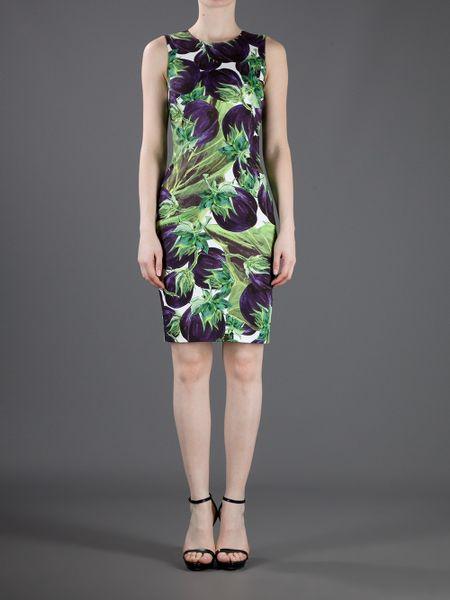 Dolce Amp Gabbana Eggplant Print Dress In Purple Eggplant
