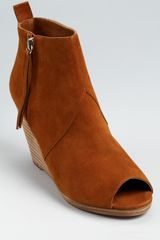 Dolce Vita Open Toe Booties Paxx Suede Wedge - Lyst