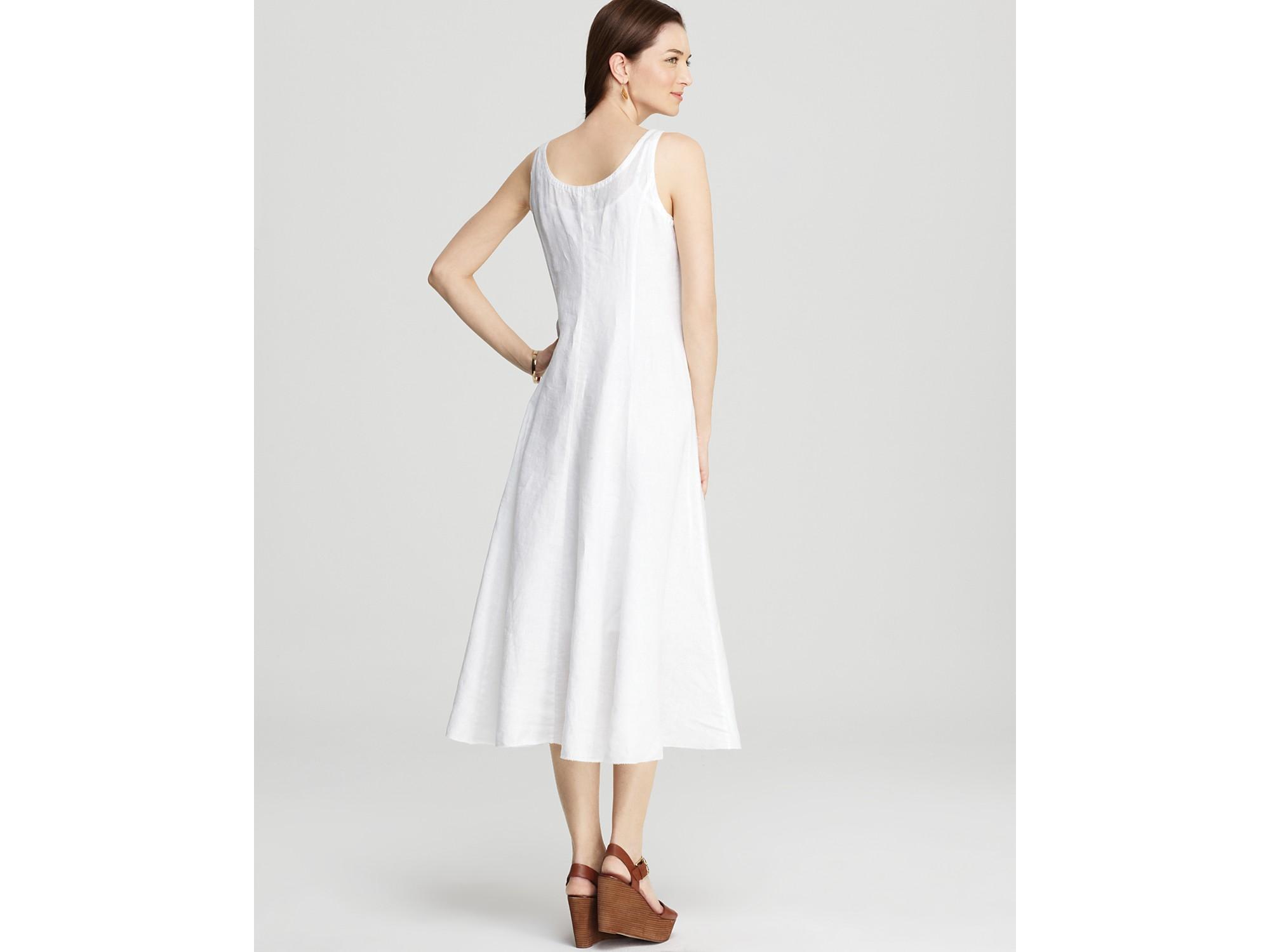 Eileen Fisher Floor Length Linen Dress In White Lyst