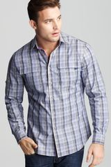 Elie Tahari Zac Multi Check Plaid Sport Shirt Classic Fit Barrel Cuff - Lyst