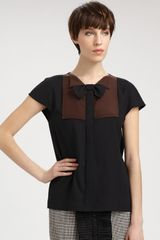 Fendi Bicolor Bowtie Blouse in Black - Lyst