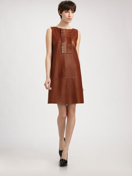 Fendi Perforated Leather Dress in Brown (black) - Lyst