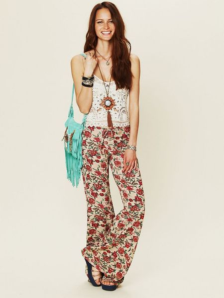 Free People Floral Drawstring Bell Bottoms in Brown (beige floral) - Lyst
