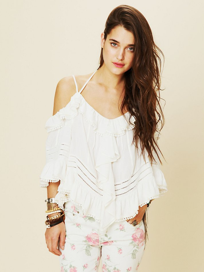 0814f7004e6f5a Lyst - Free People Open Shoulder Blouse in White