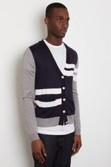 General Idea General Idea Mens Contrast Cardigan in Blue for Men - Lyst