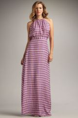 Issa Windowpane-print Silk Halter Dress - Lyst